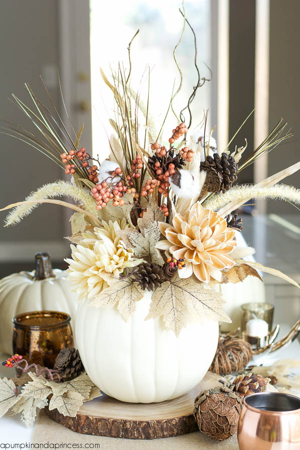 DIY Pumpkin Vase, Decorating with Pumpkins via House of Hargrove