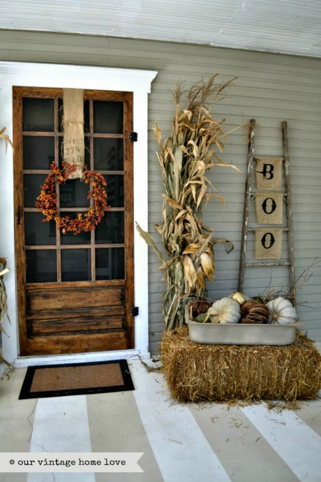 Our Vintage Home Love, Halloween Front Porch Ideas via House of Hargrove