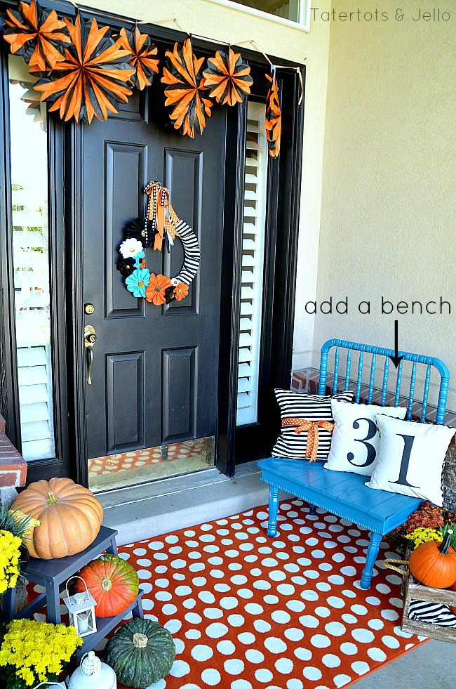 Tatertots and Jello, Halloween Front Porch Ideas via House of Hargrove