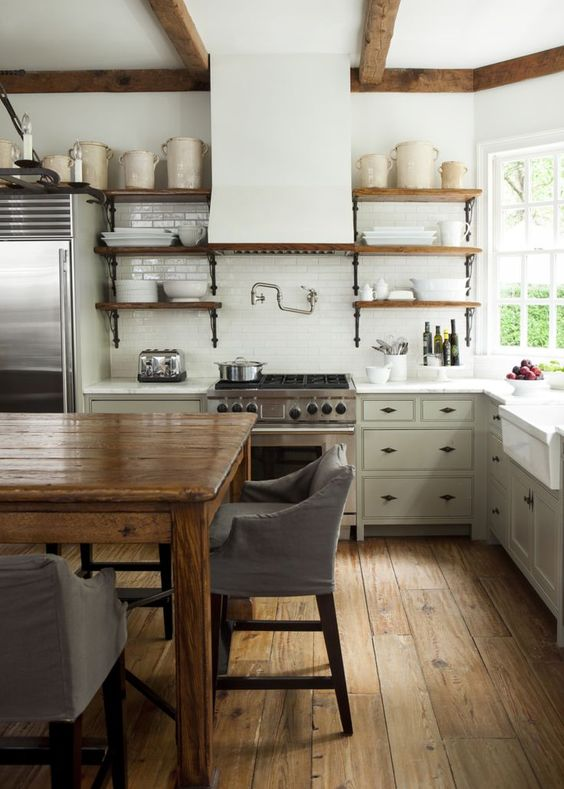 This Kitchen Is Similar To The One Above With The Open Shelving And Farmhouse Table As Kitchen Island The Floors Are Dreamy