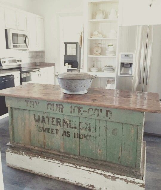 vintage farmhouse kitchen islands antique bakery counter