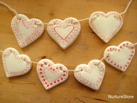 DIY Clay Heart Bunting via Nuture Store, 40 Valentines Day Ideas