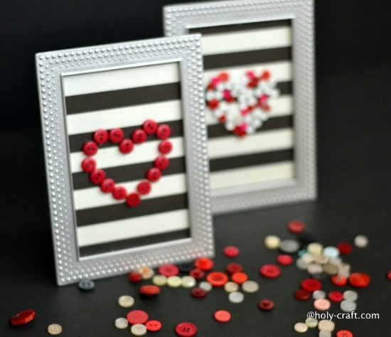 Holy Craft Valentines Day Button Framed Art Work, 40 Valentines Day Ideas via House of Hargrove