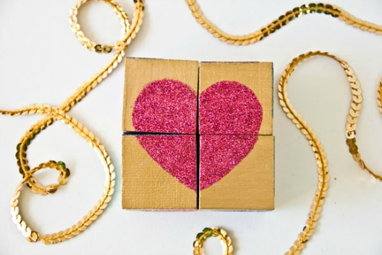 DIY Glitter Block Heart Puzzles by Studio DIY, 40 Valentines Day Ideas via House of Hargrove