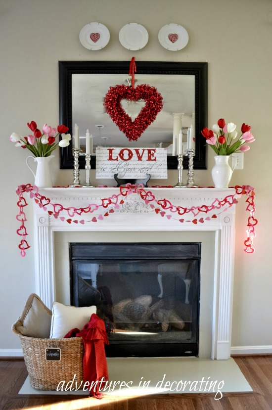 Adventures in Decorating Valentine Mantel, 40 Valentines Day Ideas via House of Hargrove