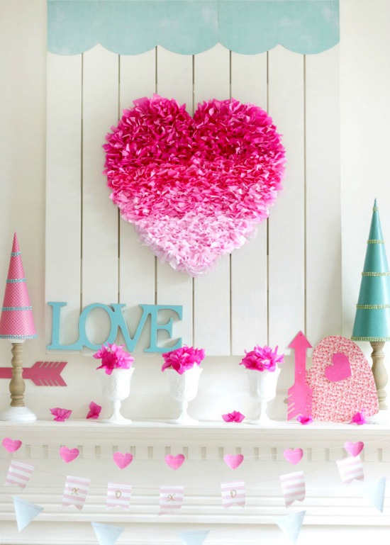 Remodelando la casa Mantel, 40 Valentines Day Ideas via House of hargrove