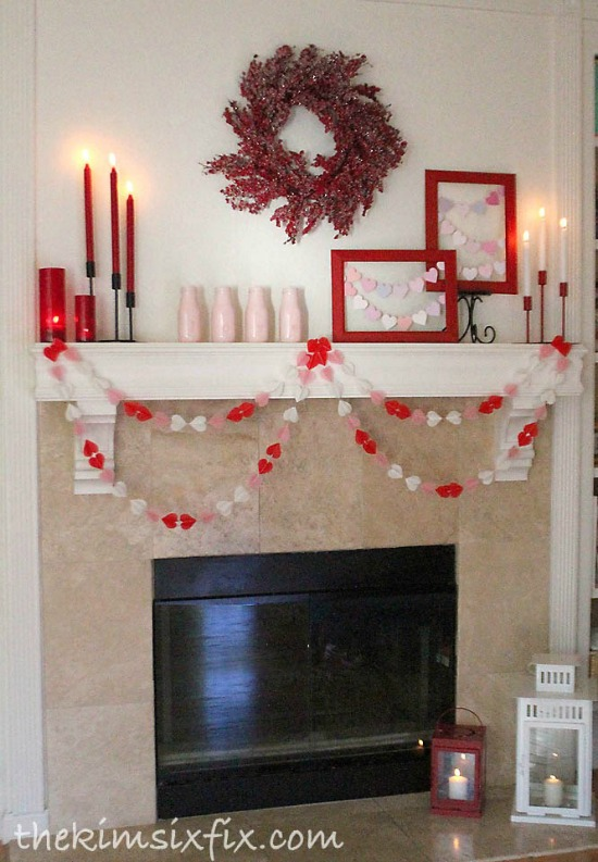 The Kim Six Fix Valentine Mantle, 40 Valentines Day Ideas via House of Hargrove
