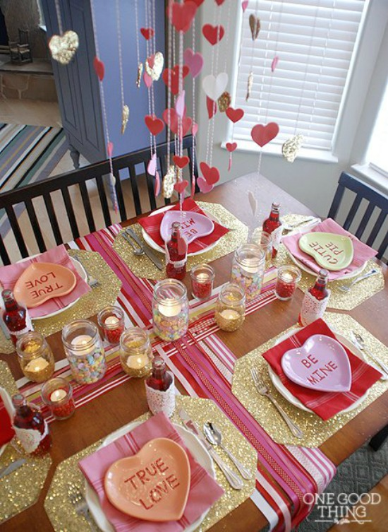 Valentines Day Tablescape by One Good Thing, 40 Valentines Day Ideas via House of Hargrove
