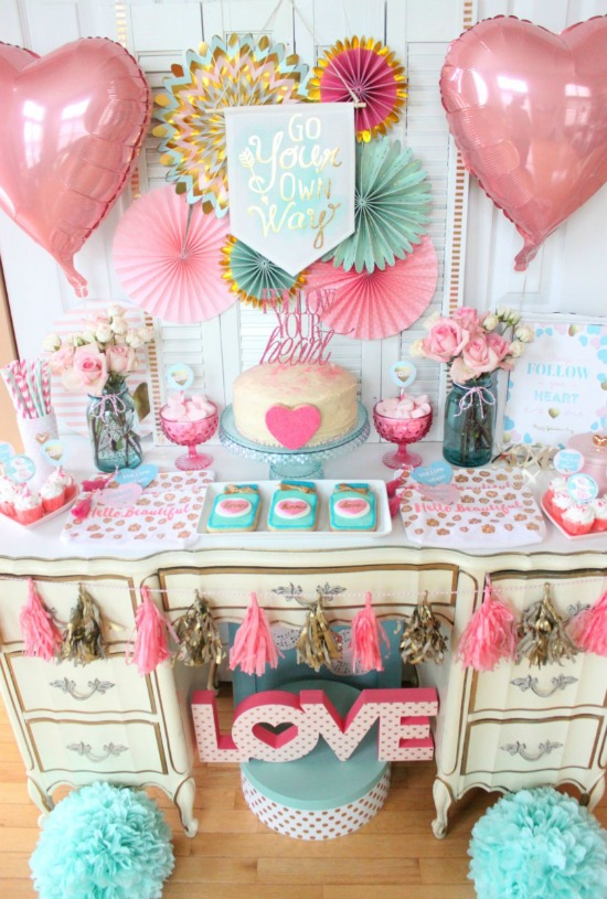 The Party Porch Follow Your Heart Galentines Day Party, 40 Valentines Day Ideas via House of Hargrove