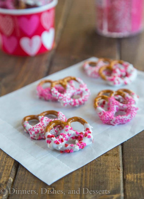 Chocolate Covered Pretzels by Dinners Dishes and Desserts, 40 Valentines Day Ideas via House of Hargrove