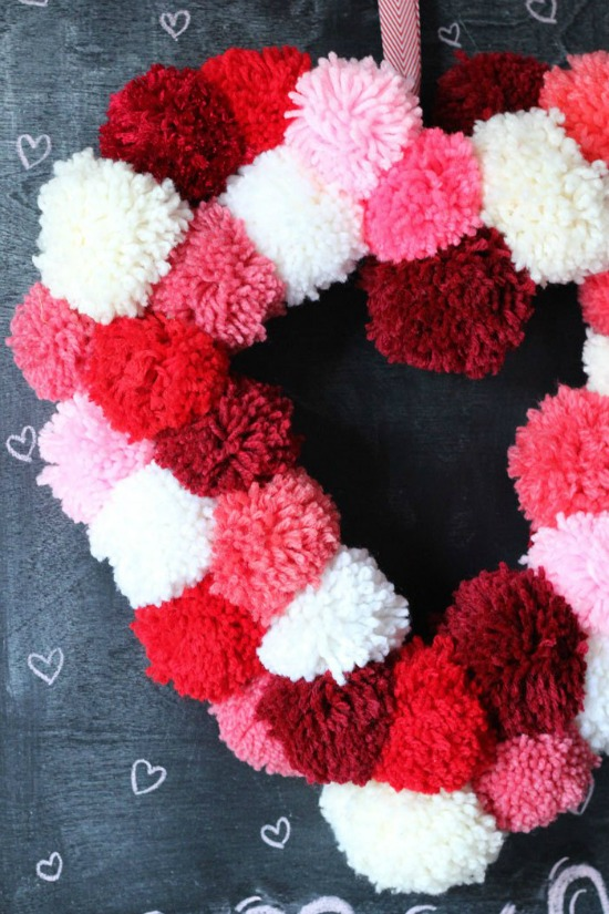 Heart Shaped Wreath with Pom Poms by Fyne Designs, 40 Valentines Day Ideas via House of Hargrove