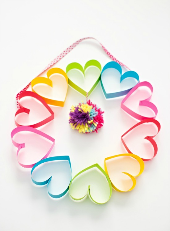 Paper Heart Wreath by Hello Wonderful, 40 Valentines Day Ideas via House of Hargrove