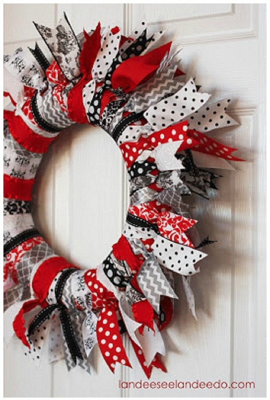 Valentine Ribbon Wreath by Landeeseelandeedo.com, 40 Valentines Day Ideas via House of Hargrove