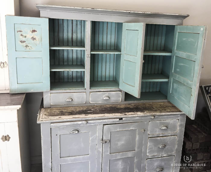 Antique Stepback Cupboard & Painted Work Table with Baskets