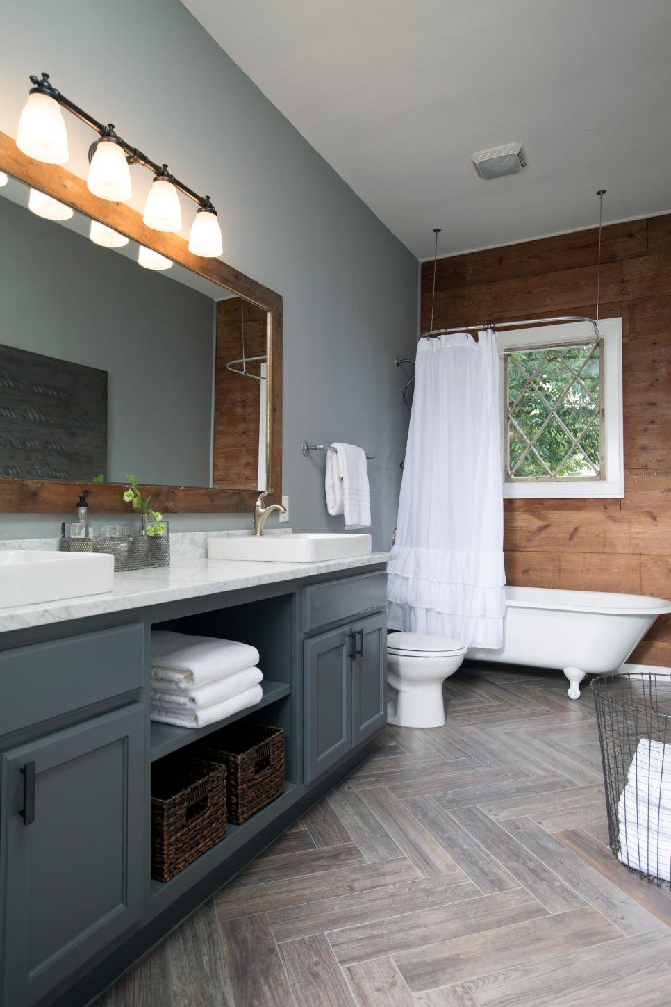 Fixer upper bathroom before afters house of hargrove - What kind of paint do you use in a bathroom ...