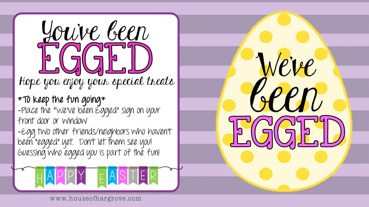 picture regarding You've Been Egged Printable named Will allow transfer Egging! - Household of Hargrove