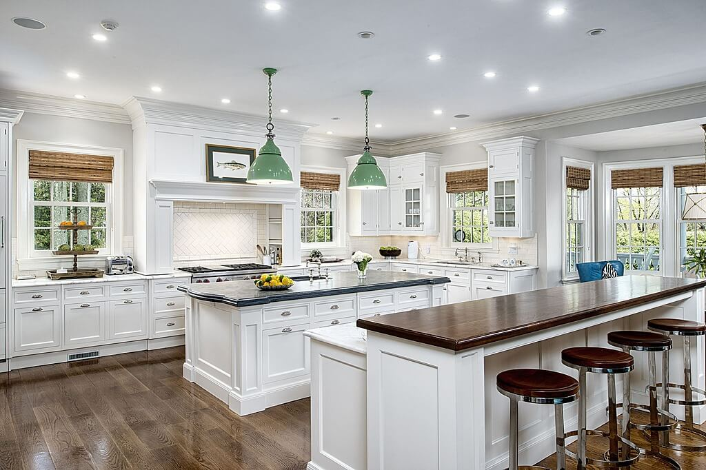 Beautiful white kitchens house of hargrove House plans with large kitchen island