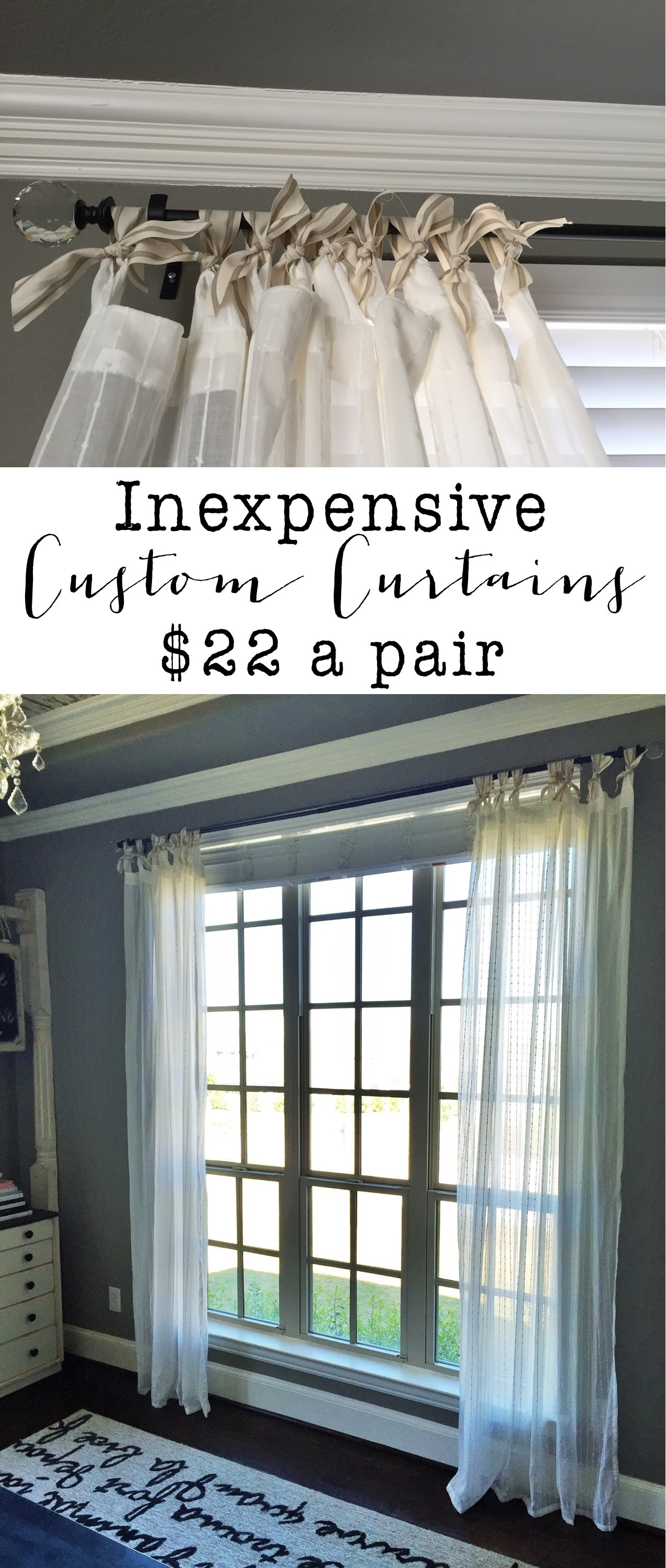 be sure to pin this photo for later so you can make your own inexpensive custom curtains