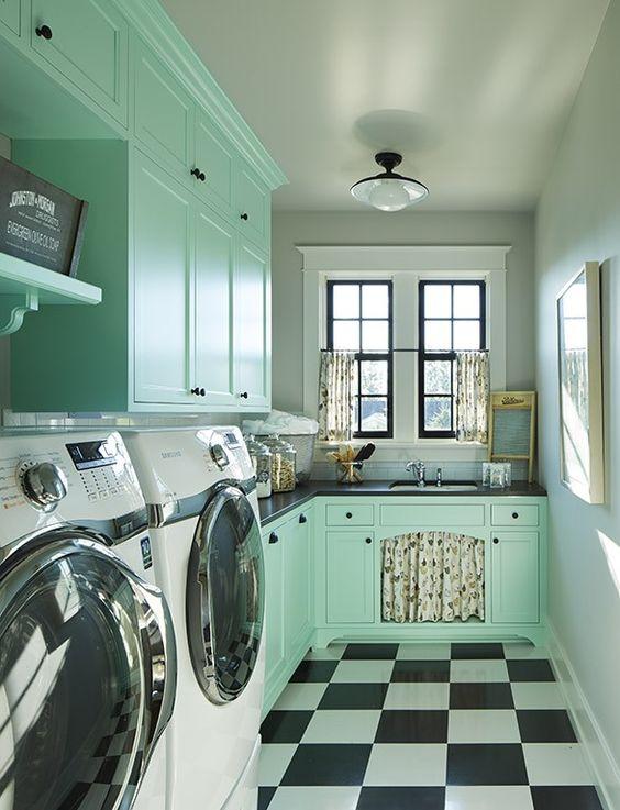 Mint Retro Laundry Room