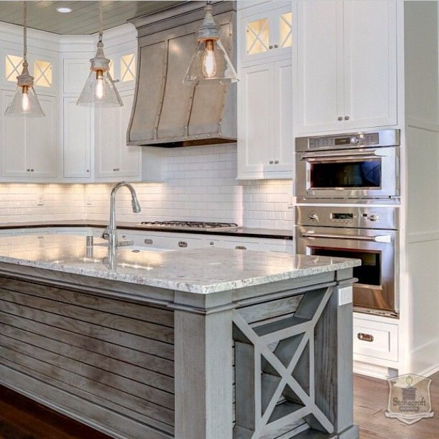 Beautiful kitchen with grey island