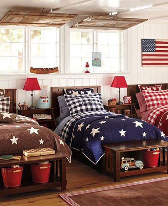Patriotic decor house of hargrove for Boys red and blue bedroom ideas
