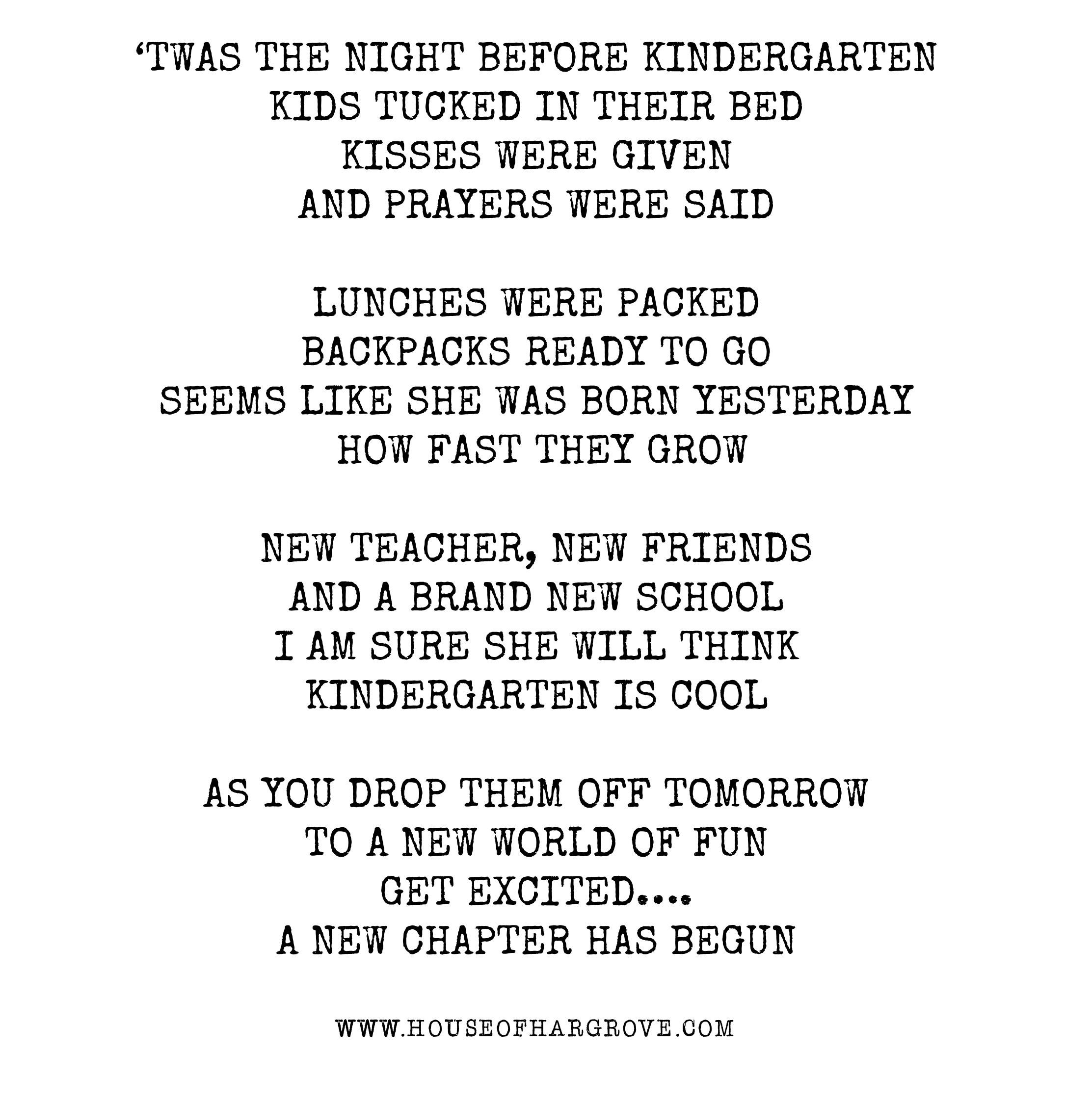twas the night before kindergarten