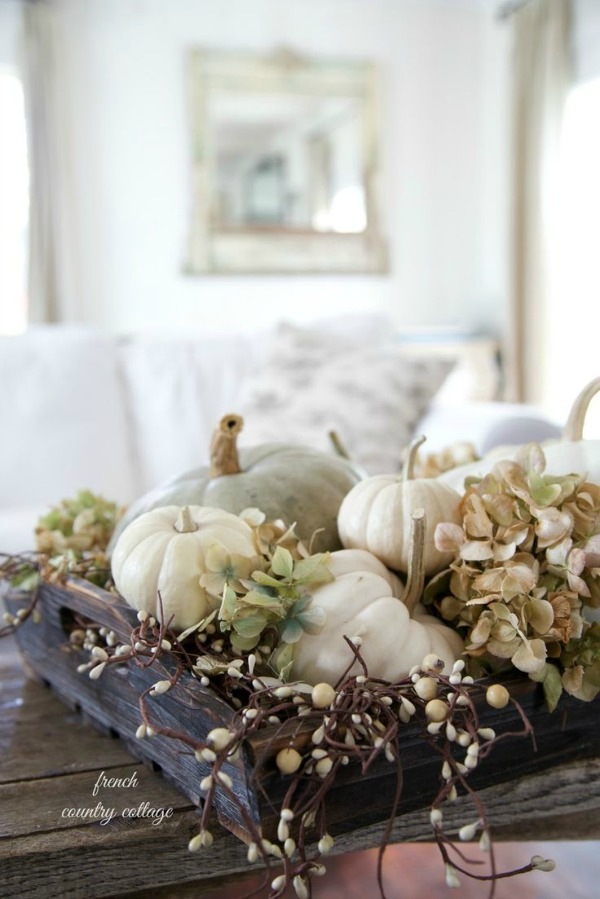 Autumn Vignette Decorating with Pumpkins via House of Hargrove - Make Your Living Room Looks Different With Diy Living Room Ideas