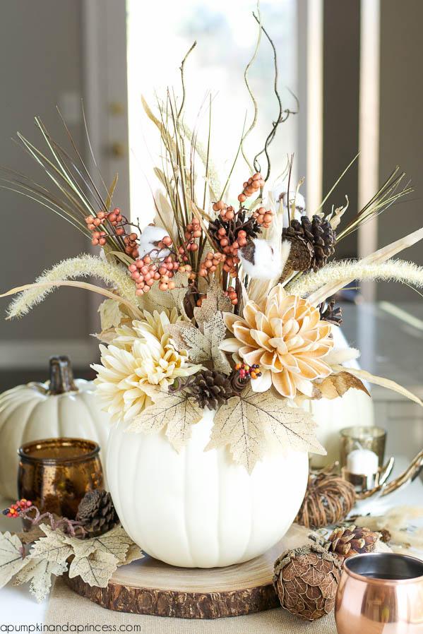 DIY Pumpkin Vase, Decorating with Pumpkins via House of Hargrove