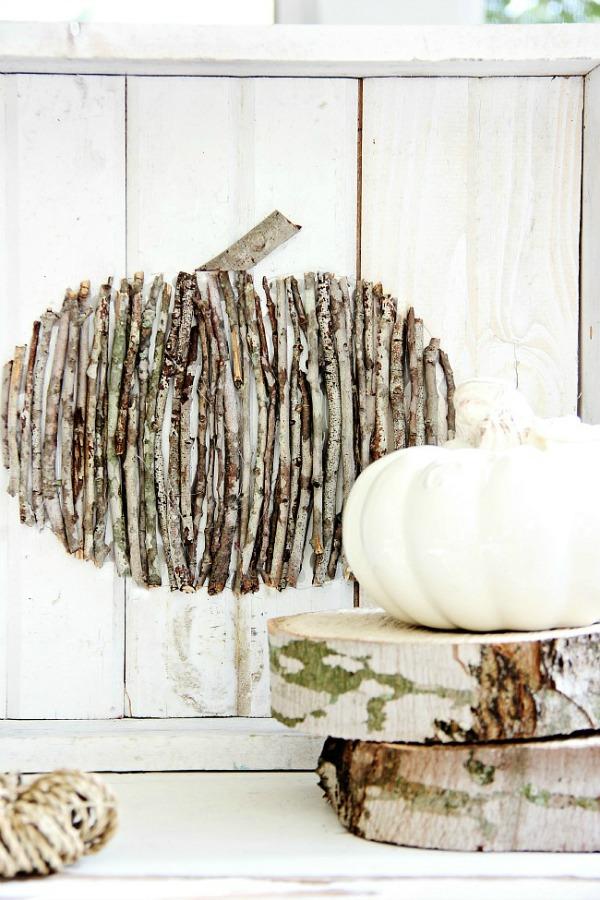 DIY Wood Stick Pumpkin Backdrop, Decorating with Pumpkins
