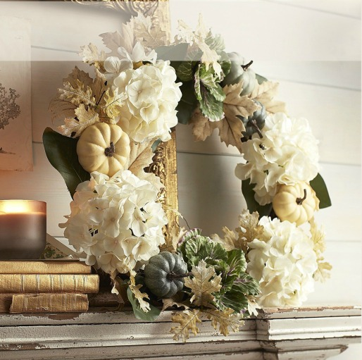 Faux Cabbage Hydrangea Wreath, Decorating with Pumpkins