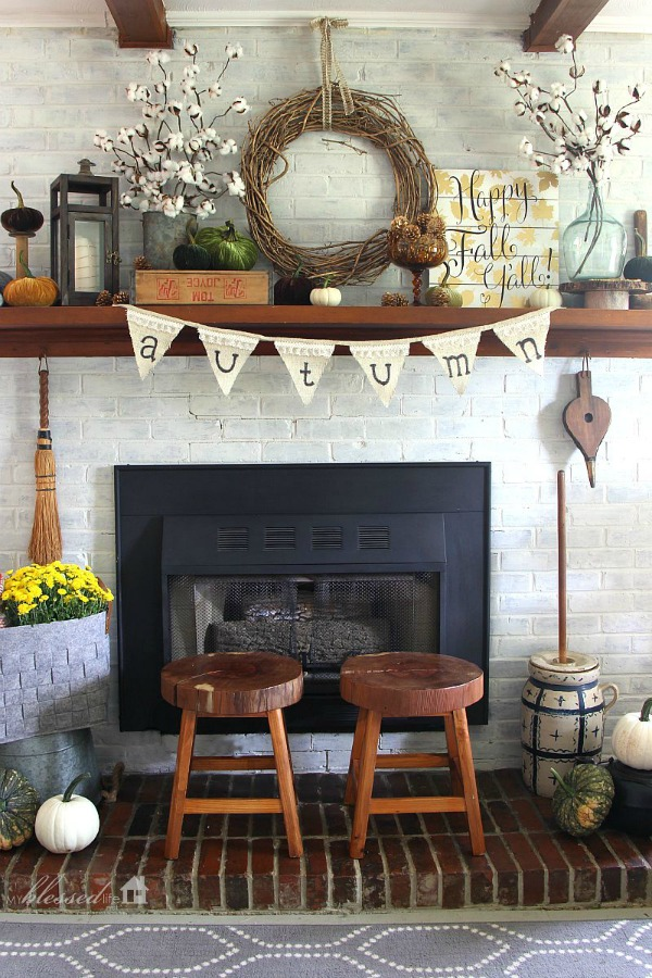 Natural Fall Mantel By My Blessed Life Decor Inspiration