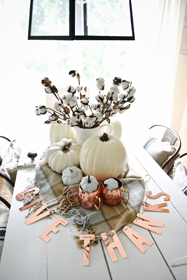 Neutral Copper Fall Centerpiece, Decorating with Pumpkins
