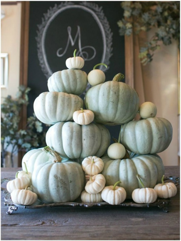 Pumpkin Tray Centerpiece, Decorating with Pumpkins via House of Hargrove