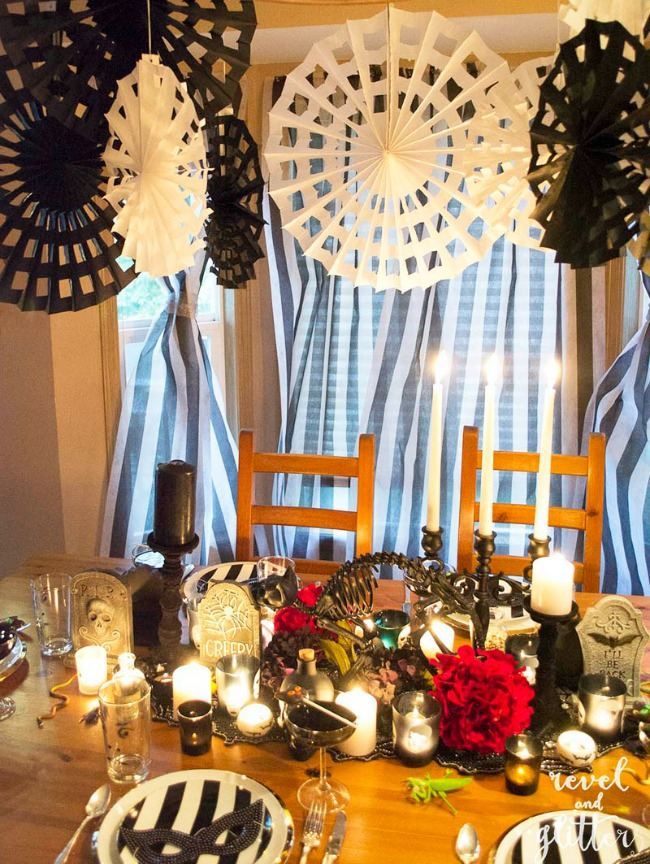 Spooky Chic Halloween Table by Revel and Glitter, Halloween Tablescapes and Party Ideas