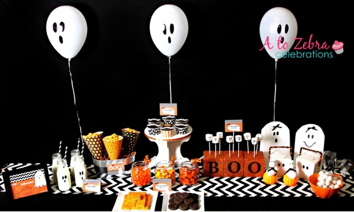 Ghost Party by A to Zebra Celebrations, Halloween Tablescapes and Party Ideas