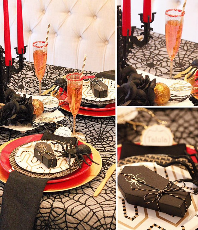 Ghoulishly Fabulous Dinner Party by A Lovely Design, Halloween Tablescapes and Party Ideas