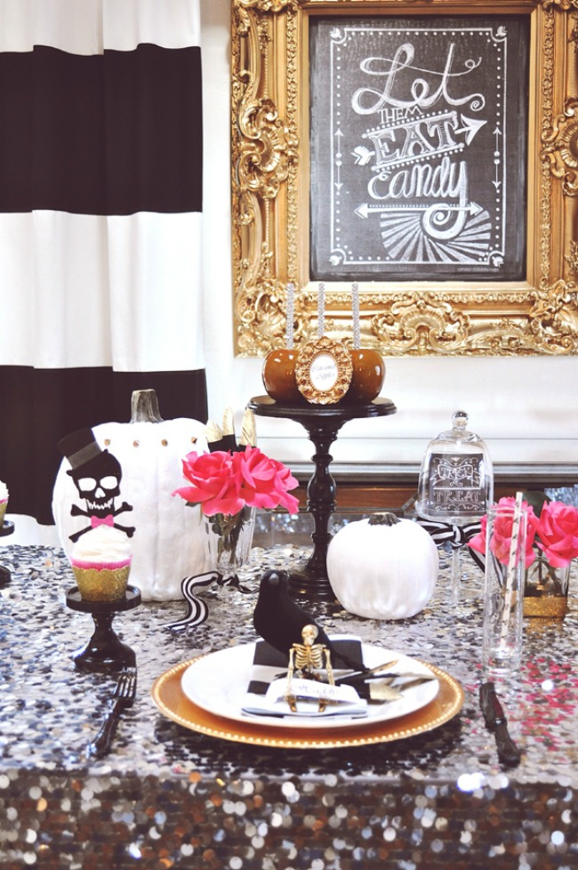 Glam Halloween Tablescape by House of Creative Designs, Halloween Tablescapes and Party Ideas