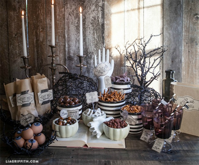 Halloween Candy Favor Table Set up by Lia Griffith, Halloween Tablescape and Party Ideas