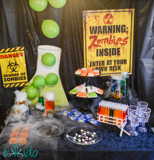 Halloween Zombie Science Party by Tikkido, Halloween Tablescapes and Party Ideas