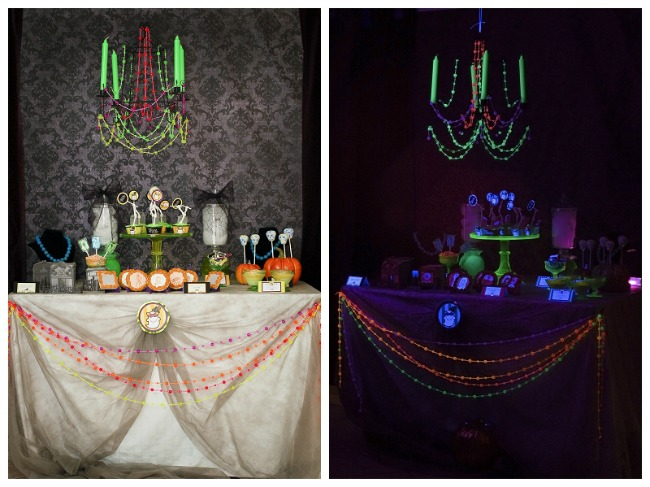 Let the Ghoul Times Roll - Glow in the Dark Black Light Party by Tikkido, Halloween Tablescapes and Party Ideas