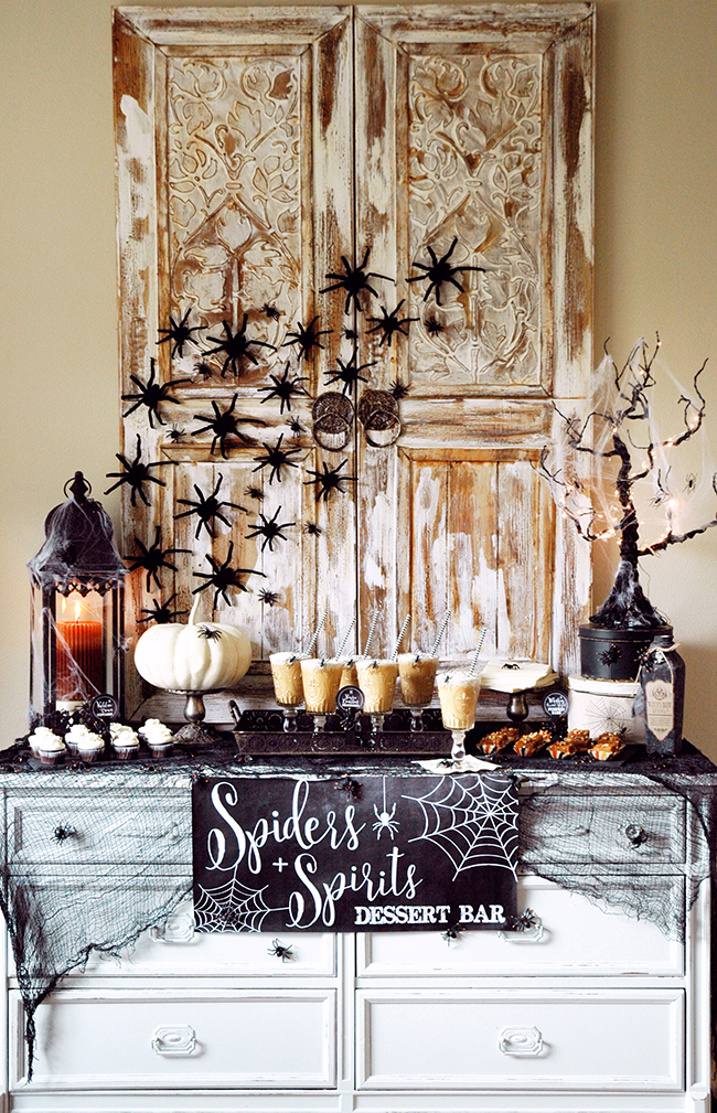 Spiders + Spirits Halloween Dessert Table by Pen & Paper Flowers, Halloween Tablescapes and Party Ideas