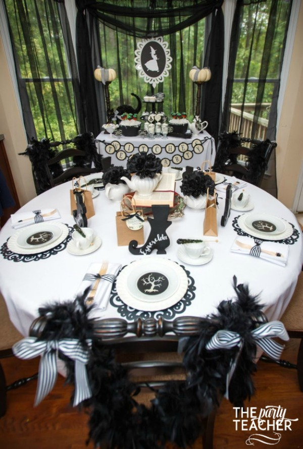 Witch's Tea Party by The Party Teacher, Halloween Tablescapes and Party Ideas