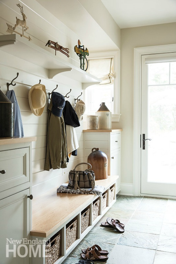 New England Home, Farmhouse Mudrooms via House of Hargrove