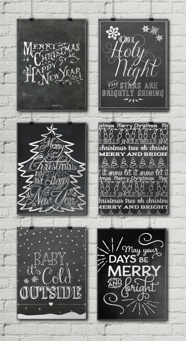 Christmas Chalkboard Printables, Christmas Printables via House of Hargrove