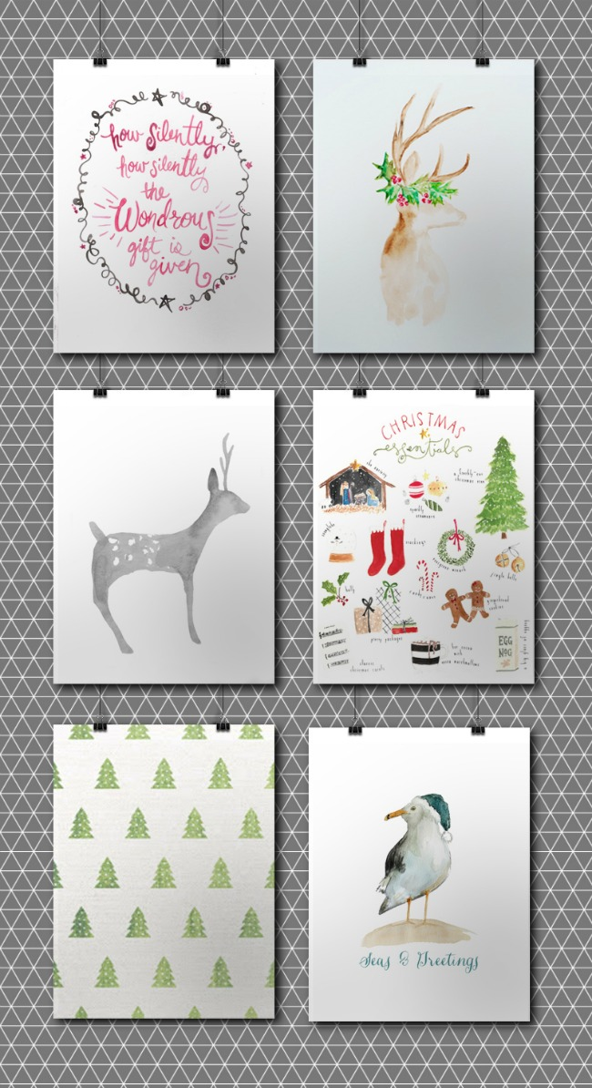 Christmas Watercolor Prints, Christmas Printables via House of Hargrove