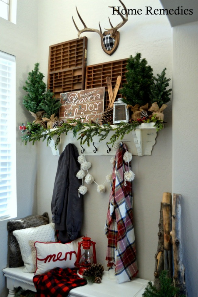Cozy Farmhouse Entry, Christmas Inspiration via House of Hargrove