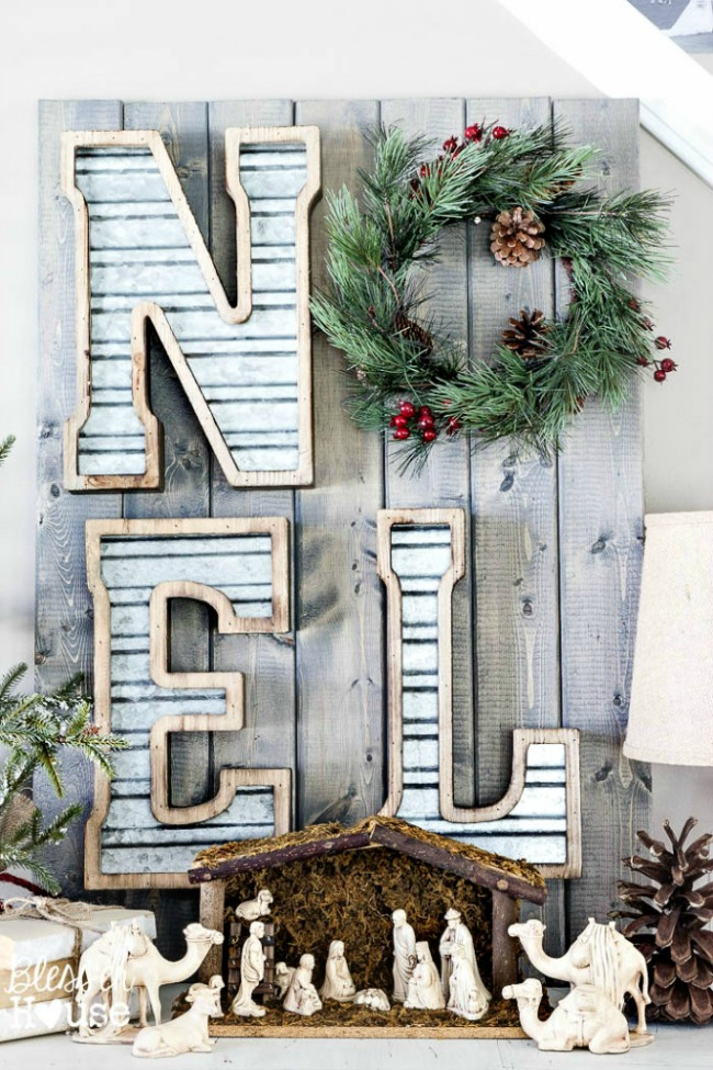 DIY Metal and Wood Christmas Sign, Christmas Inspiration via House of Hargrove