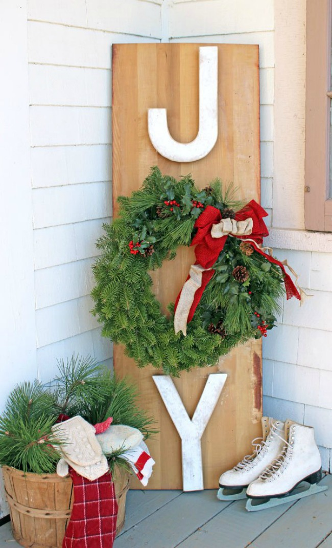 JOY Outdoor Wreath Sign, Christmas Inspiration via House of Hargrove