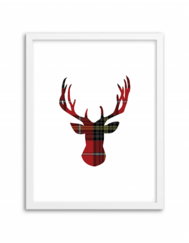 Tartan Deer Wall Art, Christmas Printables via House of Hargrove