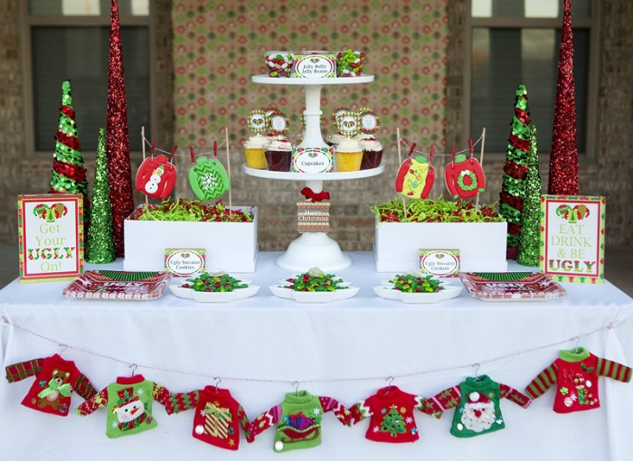 Ugly Sweater Christmas Party, Christmas Tablescapes / Party Ideas via House of Hargrove